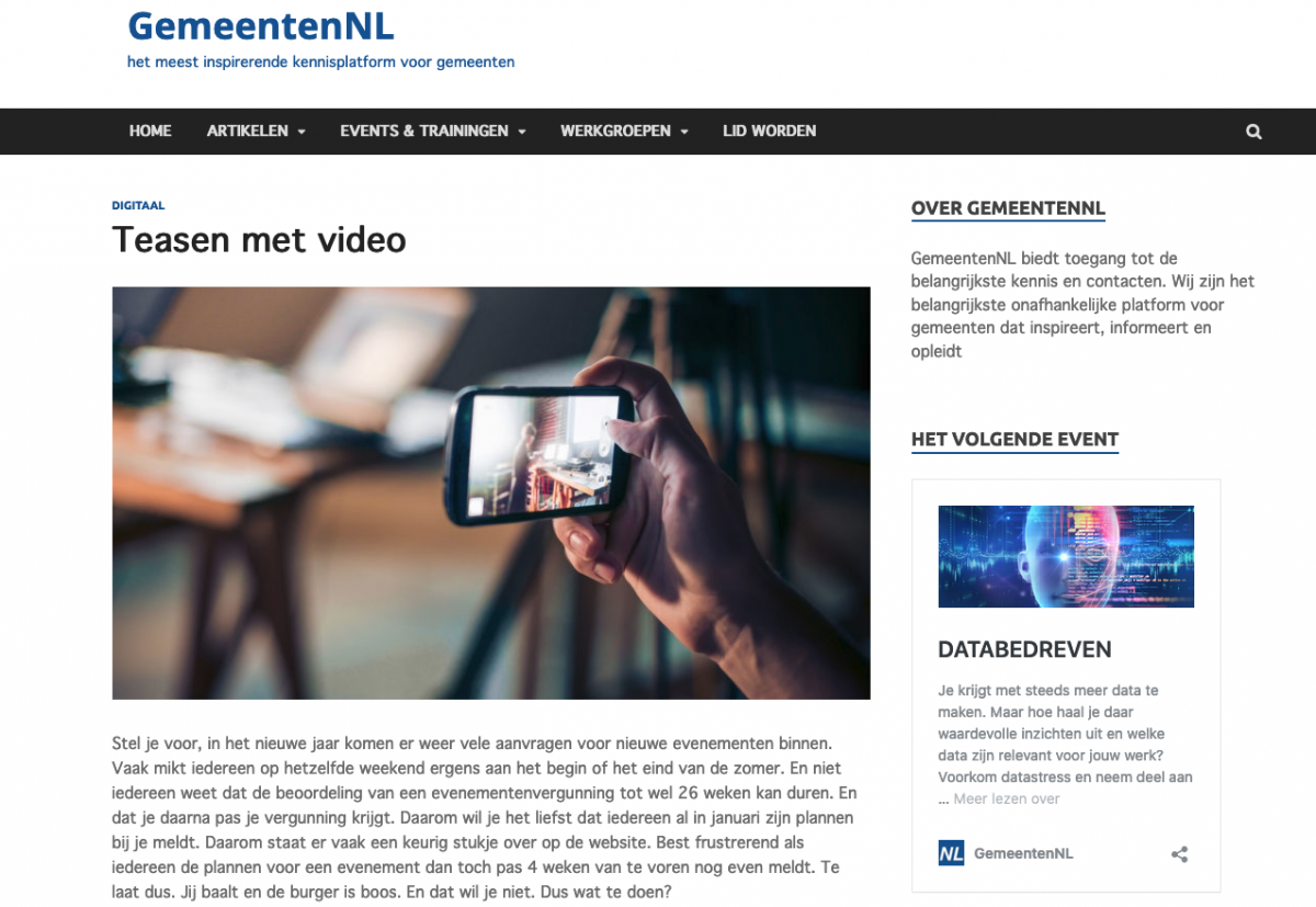 Teasen met video